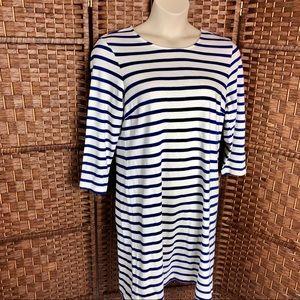 Old Navy Long Sleeve Blue White Stripe Knit Dress